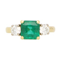 GIA Certified Emerald and Diamond Three Stone Ring in 18k Yellow Gold