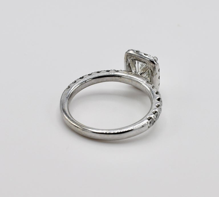 Modern GIA Certified Emerald Cut 1.01 Carat Halo White Gold Diamond Engagement Ring For Sale