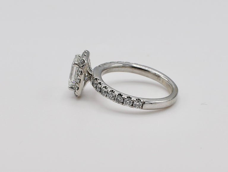 GIA Certified Emerald Cut 1.01 Carat Halo White Gold Diamond Engagement Ring In Excellent Condition For Sale In  Baltimore, MD