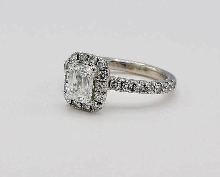 Women's GIA Certified Emerald Cut 1.01 Carat Halo White Gold Diamond Engagement Ring For Sale