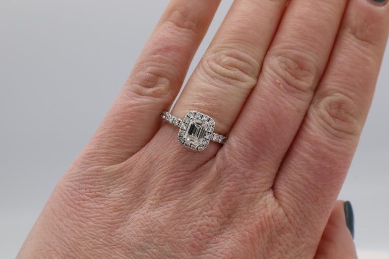 GIA Certified Emerald Cut 1.01 Carat Halo White Gold Diamond Engagement Ring For Sale 1