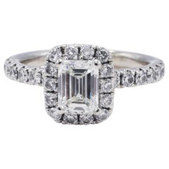 GIA Certified Emerald Cut 1.01 Carat Halo White Gold Diamond Engagement Ring
