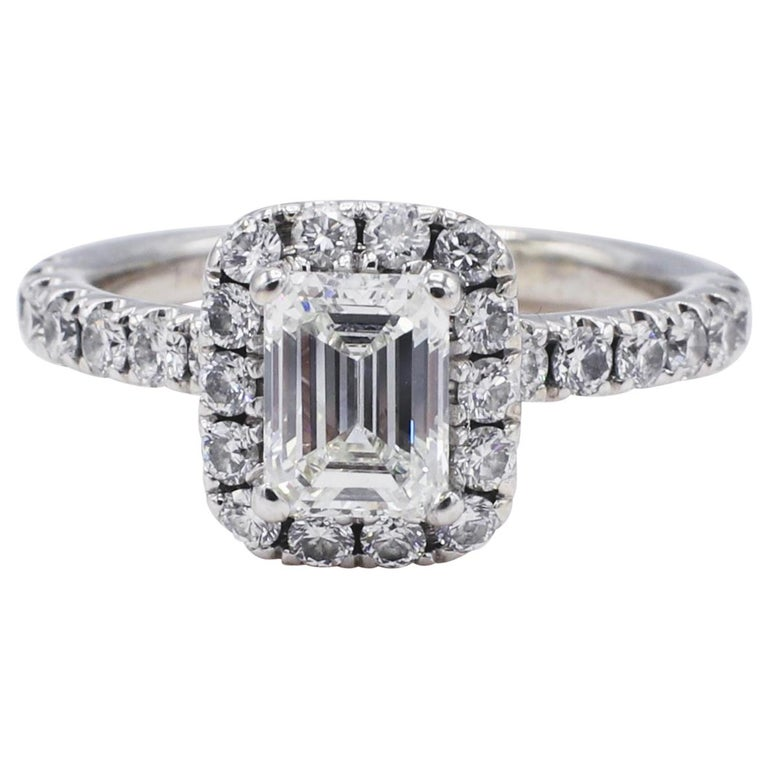 GIA Certified Emerald Cut 1.01 Carat Halo White Gold Diamond Engagement Ring For Sale