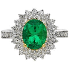 GIA Certified Emerald-Cut 1.76 Carat Colombian Emerald and Diamond Ring