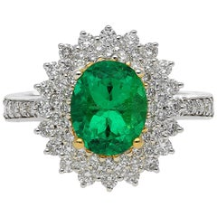 GIA Certified Emerald-Cut 1.76 Colombian Emerald Diamond Halo Engagement Ring