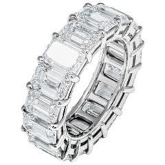 GIA Certified Emerald Cut Anniversary Band in Platinum 11.91 Carat