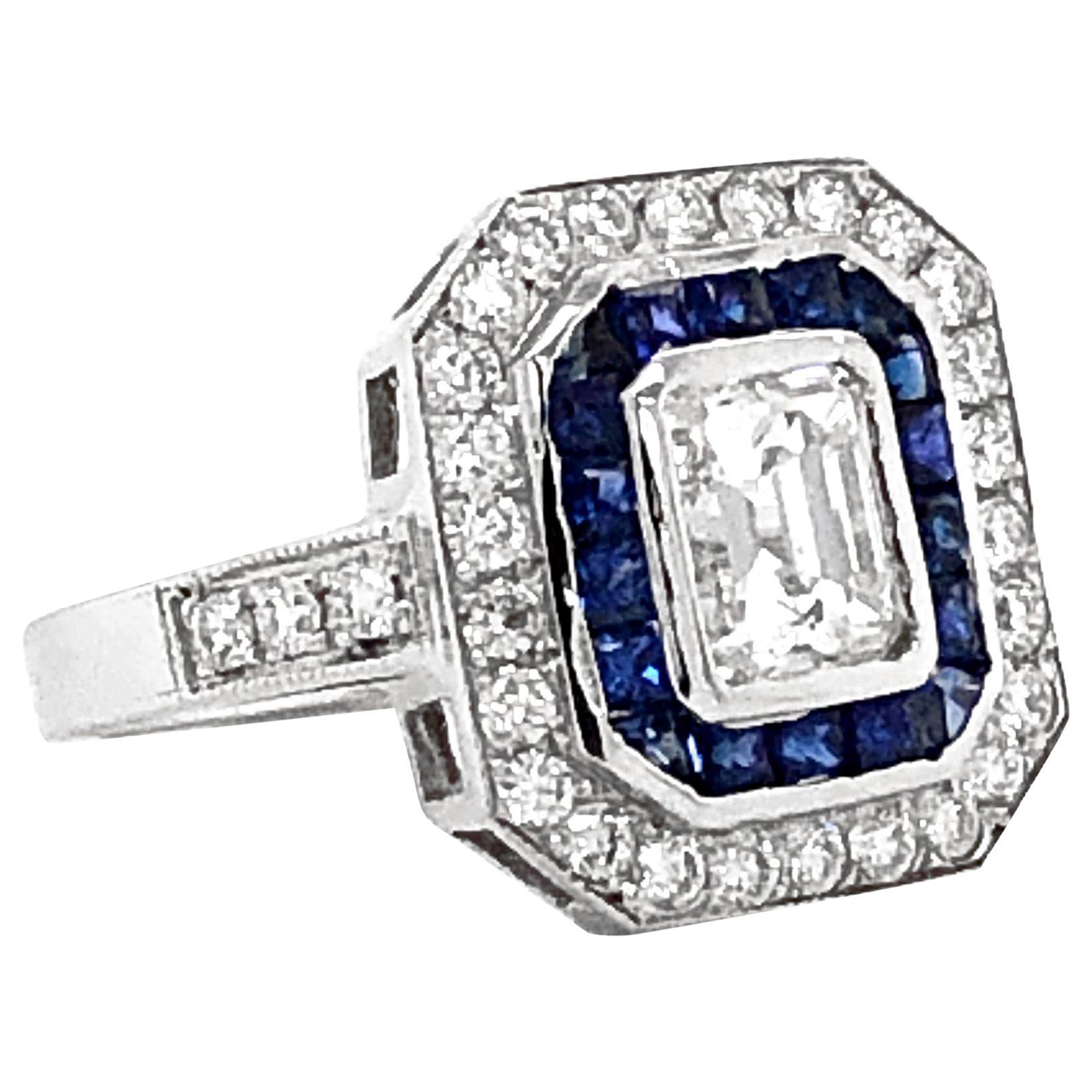 GIA Certified Emerald Cut Diamond 1.01 Carat Sapphires Diamonds Cocktail Ring
