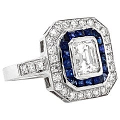 GIA Certified Emerald Cut Diamond 1.01 Carat Sapphires Diamond Cocktail Ring