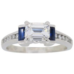 GIA Certified Emerald Cut Diamond and Blue Sapphire Platinum Engagement Ring