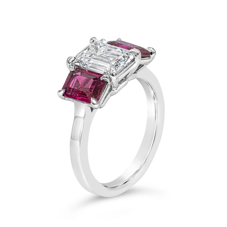 Contemporary Roman Malakov, Emerald Cut Diamond and Ruby Three-Stone Engagement Ring For Sale