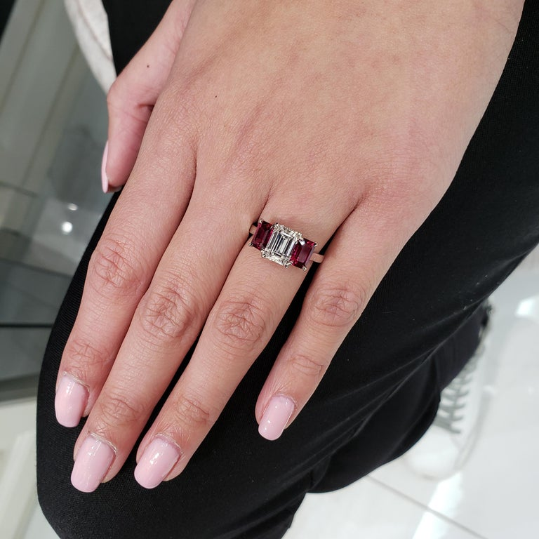 Roman Malakov, Emerald Cut Diamond and Ruby Three-Stone Engagement Ring In New Condition For Sale In New York, NY