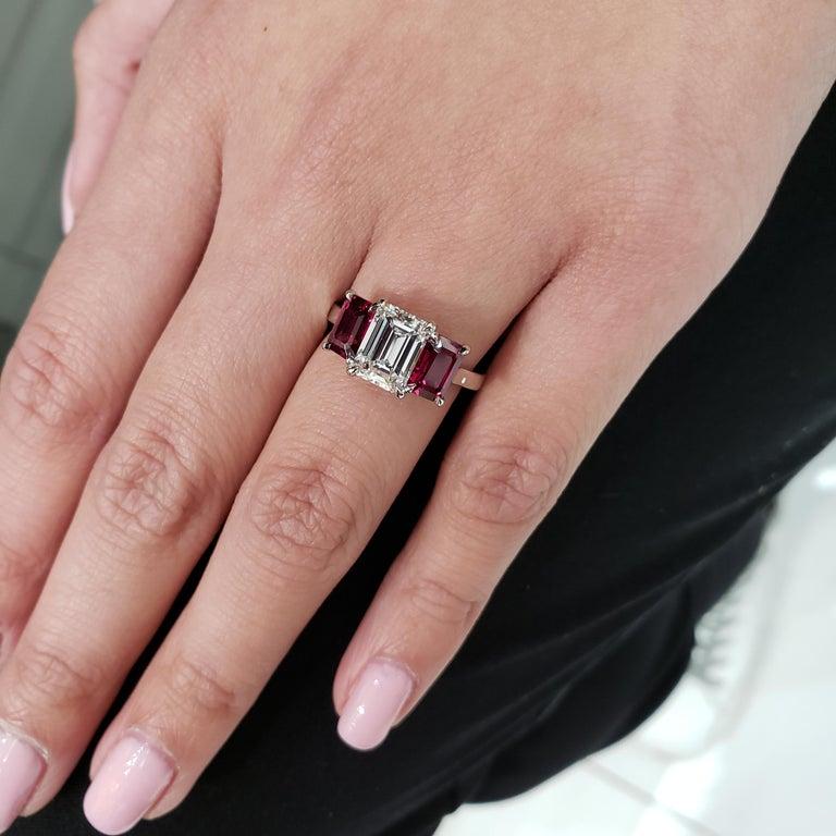 Women's Roman Malakov, Emerald Cut Diamond and Ruby Three-Stone Engagement Ring For Sale