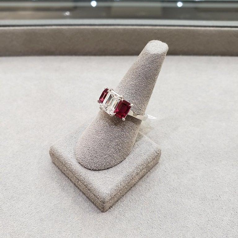 Roman Malakov, Emerald Cut Diamond and Ruby Three-Stone Engagement Ring For Sale 2