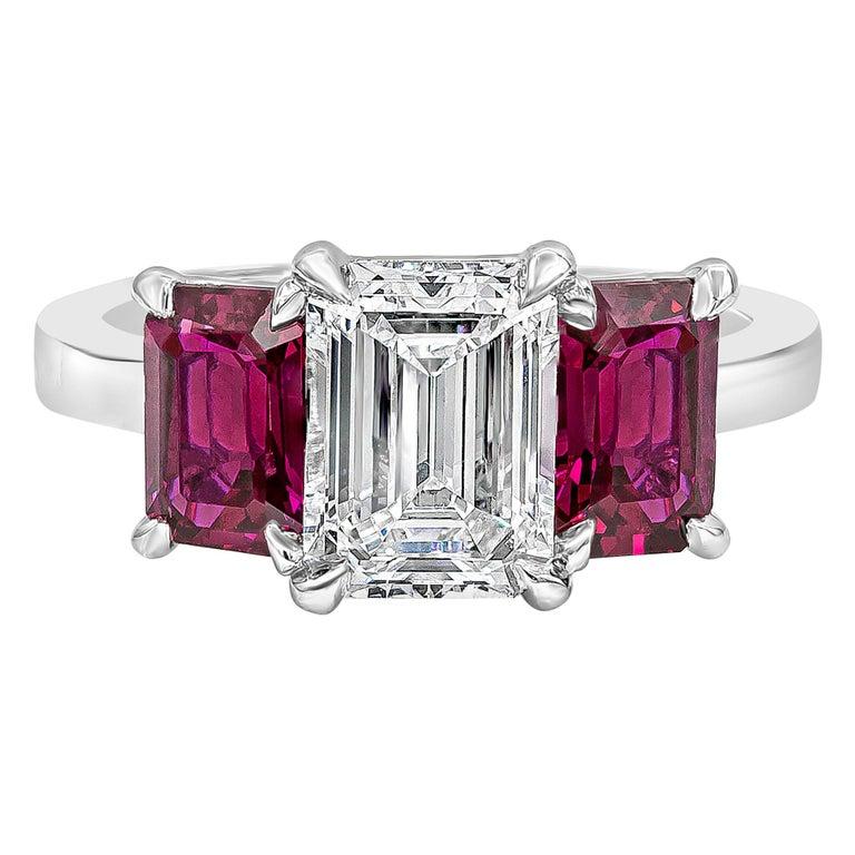 Roman Malakov, Emerald Cut Diamond and Ruby Three-Stone Engagement Ring For Sale