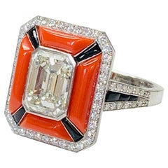 GIA Certified Emerald Cut Diamond, Coral and Onyx Engagement Ring in Platinum