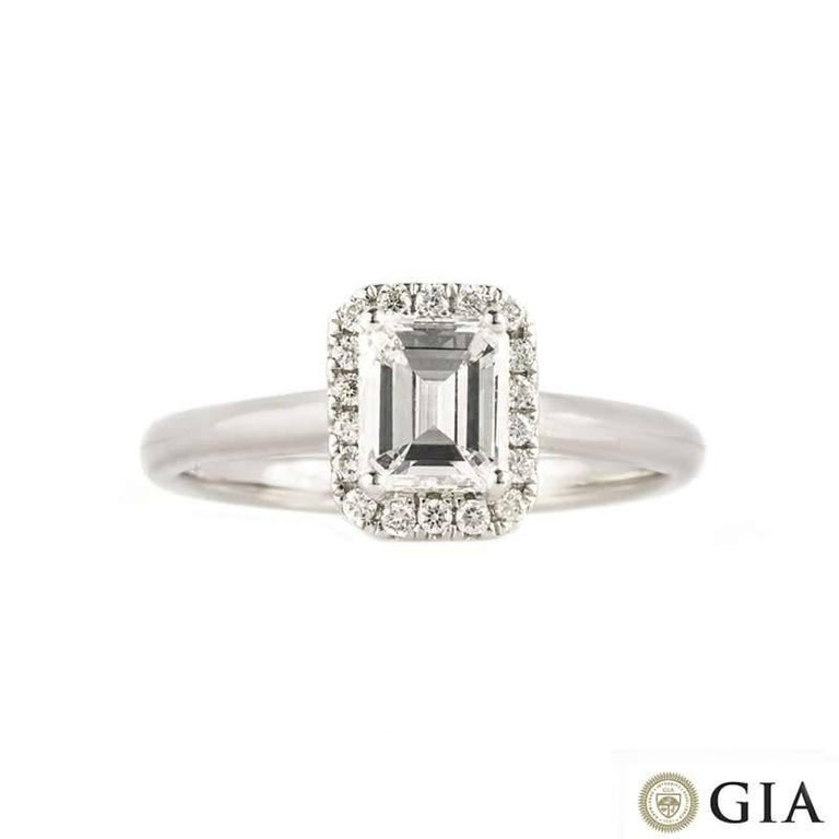 GIA Certified Emerald Cut Diamond Engagement Ring 0.74 Carat D/VS2 In Excellent Condition For Sale In London, GB