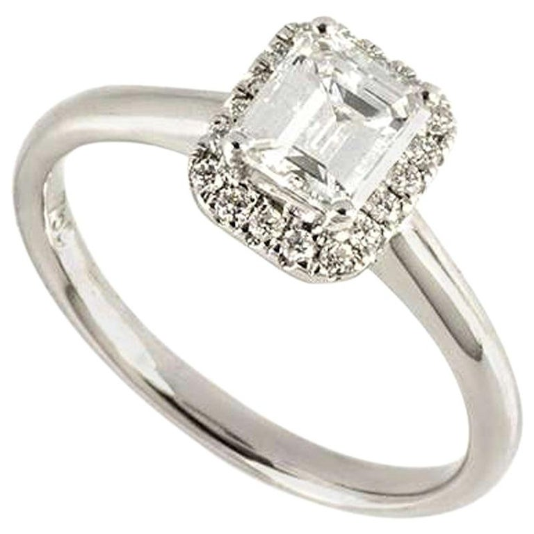 GIA Certified Emerald Cut Diamond Engagement Ring 0.74 Carat D/VS2 For Sale