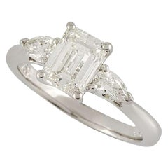 GIA Certified Emerald Cut Diamond Engagement Ring 1.17 Carat