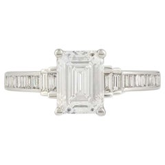 GIA Certified Emerald Cut Diamond Engagement Ring 1.51 Carat/F Color