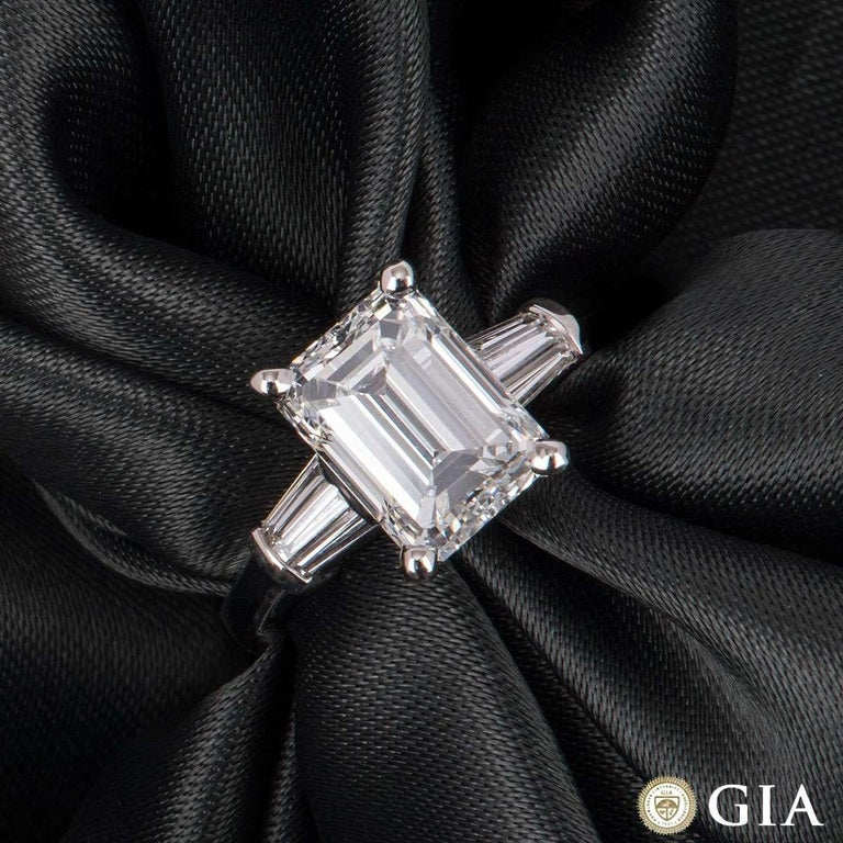 GIA Certified Emerald Cut Diamond Engagement Ring 3.02 Carat For Sale 2