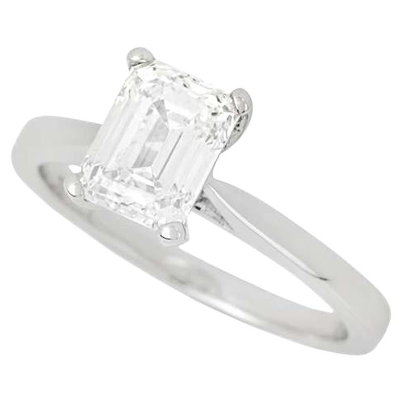 GIA Certified Emerald Cut Diamond Engagement Solitaire Ring 1.50 Carat