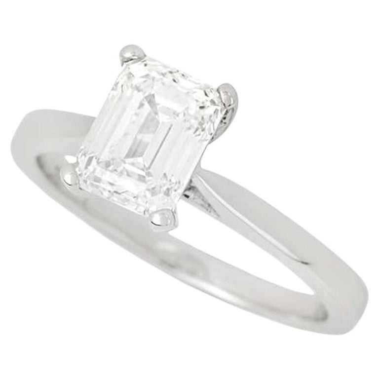 GIA Certified Emerald Cut Diamond Engagement Solitaire Ring 1.50 Carat For Sale