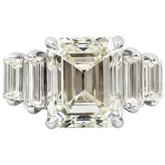 GIA Certified Emerald Cut Diamond Five-Stone Engagement Ring