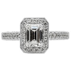GIA Certified Emerald Cut Diamond Halo Antique-Style Engagement Ring