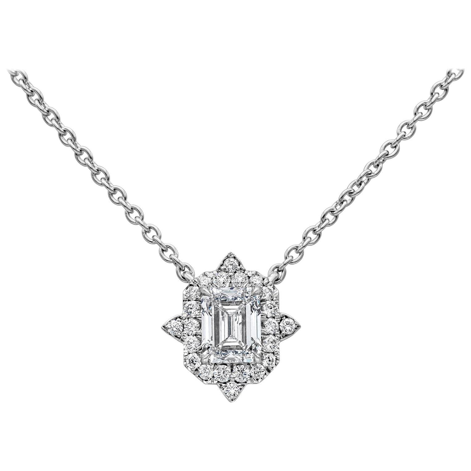 GIA Certified Emerald Cut Diamond Halo Pendant Necklace
