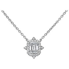 GIA Certified Emerald Cut Diamond Halo Pendant Necklace