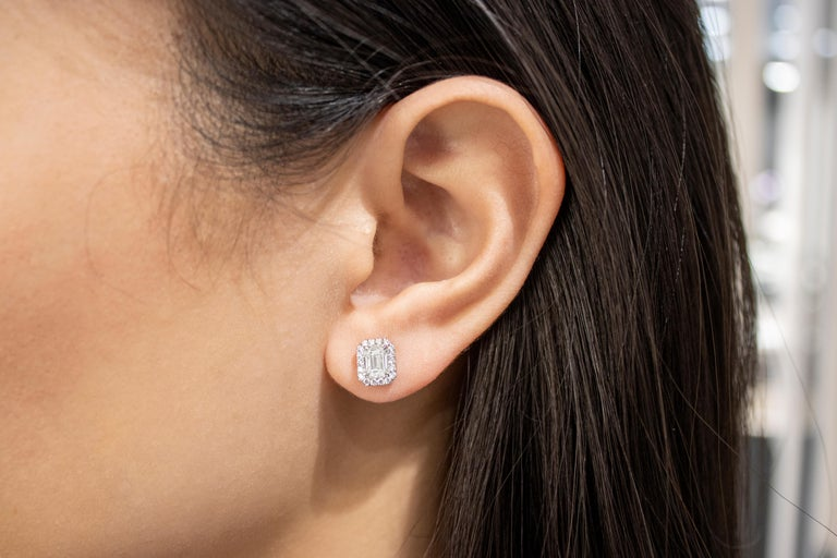 GIA Certified Emerald Cut Diamond Halo Stud Earrings In New Condition For Sale In New York, NY