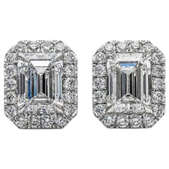 GIA Certified Emerald Cut Diamond Halo Stud Earrings