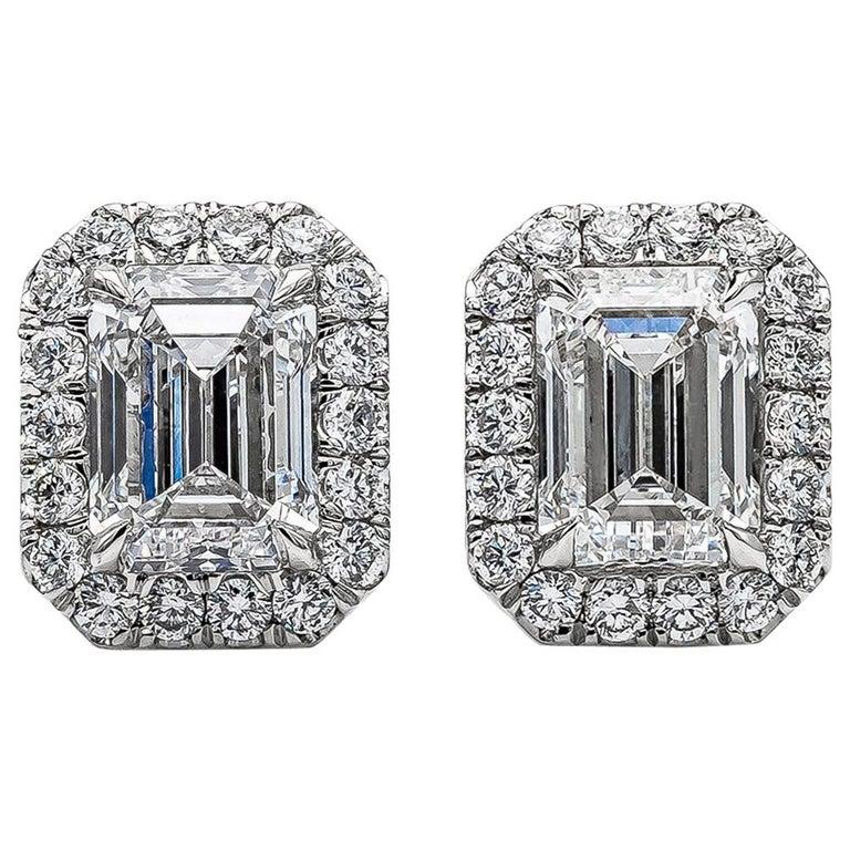 GIA Certified Emerald Cut Diamond Halo Stud Earrings For Sale