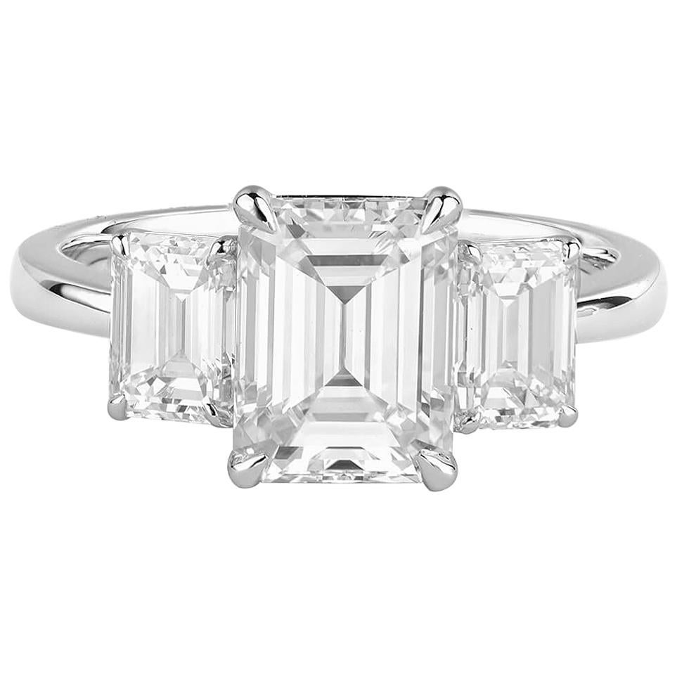 GIA Certified Emerald Cut Diamond Ring, 3.13 Carat