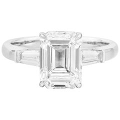 GIA Certified Emerald Cut Diamond Ring, 3.38 Carat