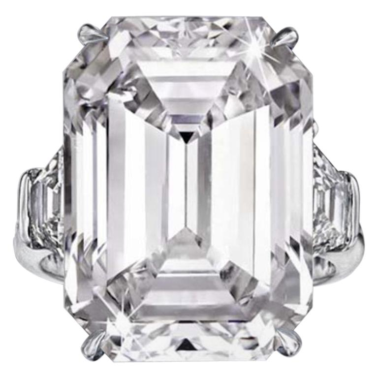 I Flawless GIA Certified 5 Carat Ct. Emerald Cut Diamond Solitaire Ring