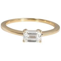 GIA Certified Emerald Cut Diamond Ring in 14K Yellow Gold '0.61 Carat F/SI1'