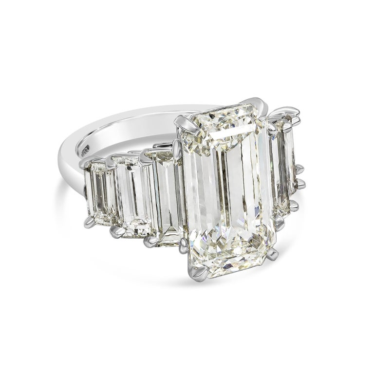 Contemporary Roman Malakov, GIA Certified Emerald Cut Diamond Seven-Stone Engagement Ring For Sale