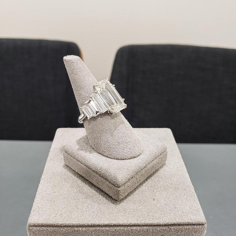 Women's Roman Malakov, GIA Certified Emerald Cut Diamond Seven-Stone Engagement Ring For Sale