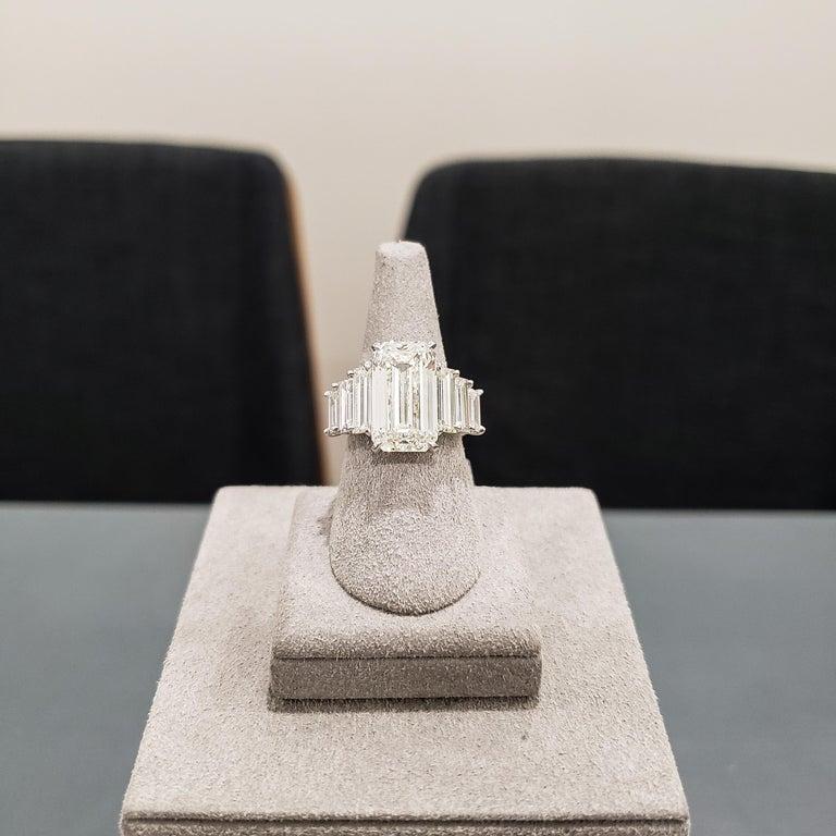 Roman Malakov, GIA Certified Emerald Cut Diamond Seven-Stone Engagement Ring For Sale 1