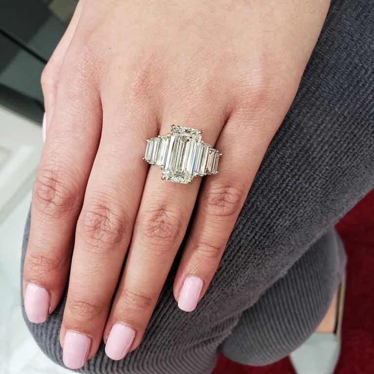 Roman Malakov, GIA Certified Emerald Cut Diamond Seven-Stone Engagement Ring For Sale 3