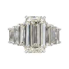 Roman Malakov, GIA Certified Emerald Cut Diamond Seven-Stone Engagement Ring