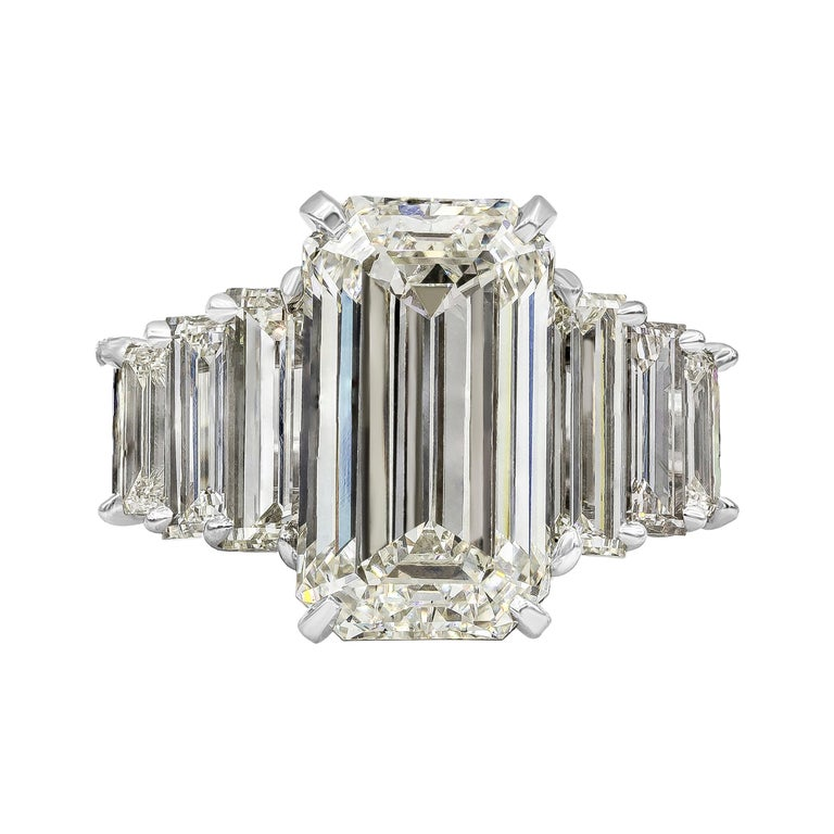 Roman Malakov, GIA Certified Emerald Cut Diamond Seven-Stone Engagement Ring For Sale