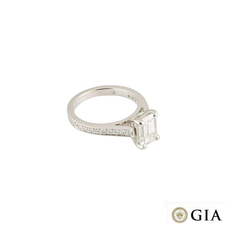 GIA Certified Emerald Cut Diamond Solitaire Engagement Ring 1.51 Carat Platinum In Excellent Condition For Sale In London, GB