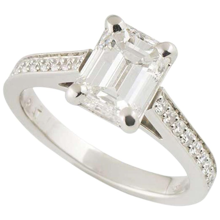 GIA Certified Emerald Cut Diamond Solitaire Engagement Ring 1.51 Carat Platinum For Sale