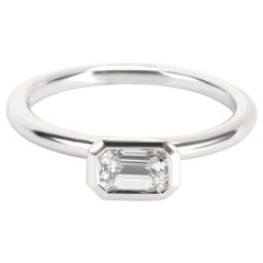 GIA Certified Emerald Cut Diamond Stackable Ring in 14k White Gold D SI2 0.51CTW