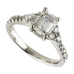 GIA Certified Emerald Cut Diamond Three-Stone Engagement Ring 1.33 Carat