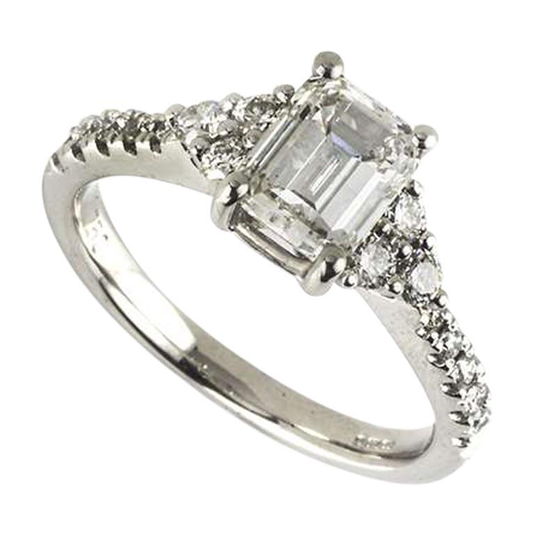 GIA Certified Emerald Cut Diamond Three-Stone Engagement Ring 1.33 Carat For Sale