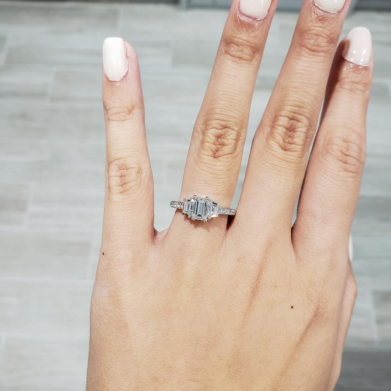 Modern GIA Certified Emerald Cut Diamond Three-Stone Engagement Ring For Sale