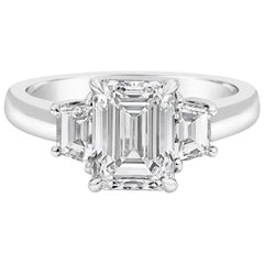 GIA Certified Emerald Cut Diamond Three-Stone Engagement Ring
